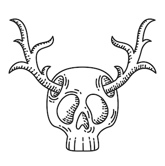 Skull with deer horns illustration.