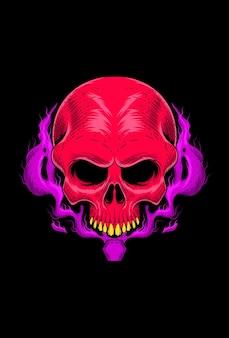Skull with devil potion vector illustration