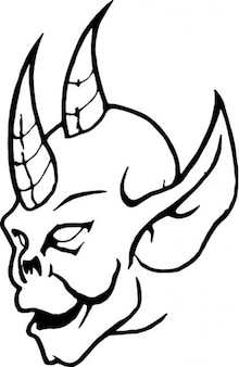Skull with double horn and big ear