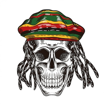 A skull with dreadlocks. skull in the cap of rastaman.