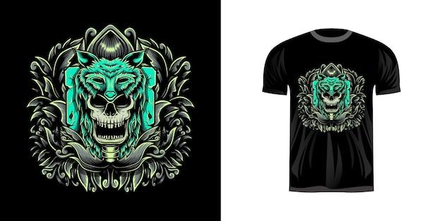 Tシャツのデザインのための彫刻ornamenと頭蓋骨