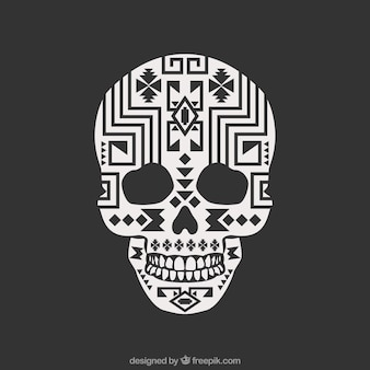 Skull with ethnic geometric