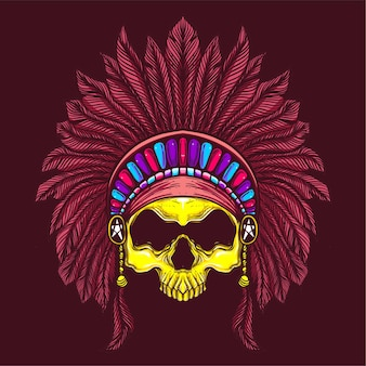 Skull with ethnic hat