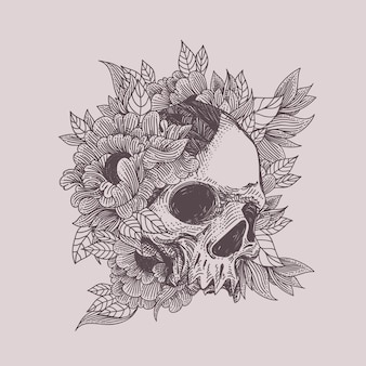 Skull with flora ornament illustration