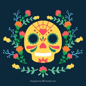 Skull with floral decorations
