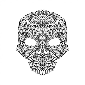 Skull with floral drawing