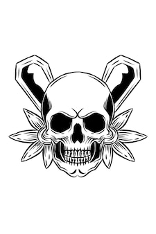 Skull with flower and coffin vector illustration