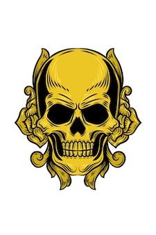 Skull with flower ornament vector illustration