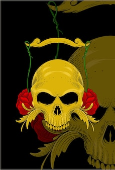 Skull with flower and plant vector illustration