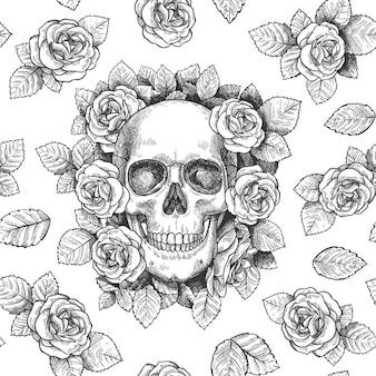 花の頭蓋骨。バラのゴシックアートワークで頭蓋骨をスケッチし、グラフィックプリントの壁紙を繰り返し、テキスタイルテクスチャのシームレスなベクトルパターン。怖い顔、恐ろしい死んだ頭を持つ葉や植物