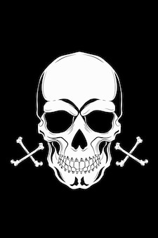 Skull with four bones vector illustration