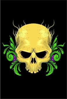 Skull with fruit & plant vector illustration