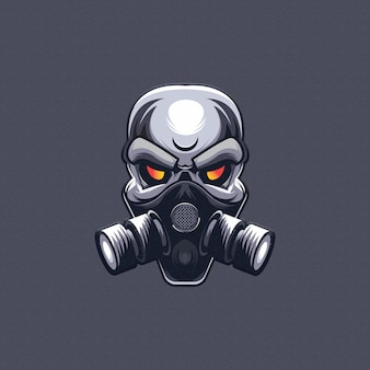 Skull with gas mask design. esport logo