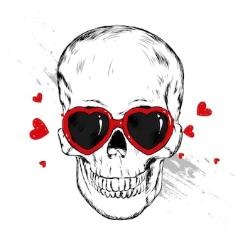 Skull with glasses in the shape of a heart. vector illustration.