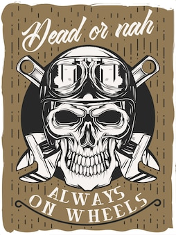 The skull with glasses on and wrenches