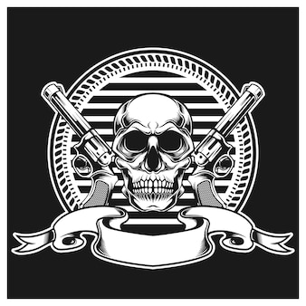 Skull with gun on left and right and ribbons