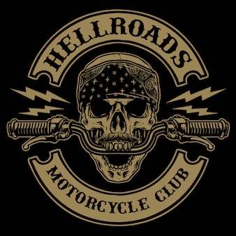 Skull with handle bar of motorcycle   illustration
