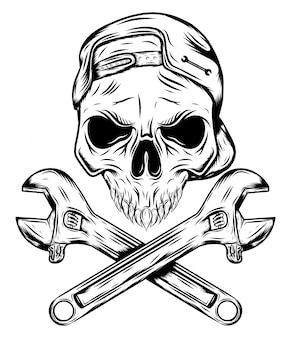 Череп с шляпой и крестовые ключи иллюстрации Premium векторы