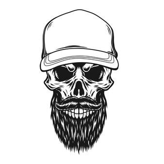 Skull with hatand beard illustration
