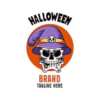 Skull with hat illustration character happy halloween with raven