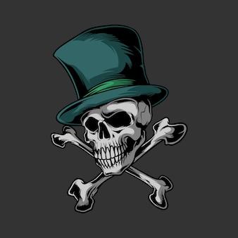 Череп в шляпе с логотипом