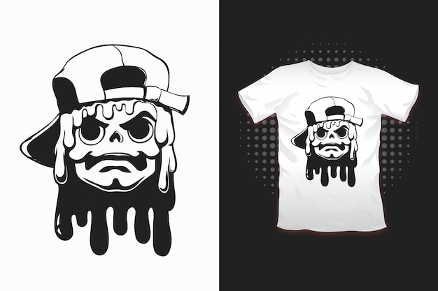 Skull with hat print for t-shirt design