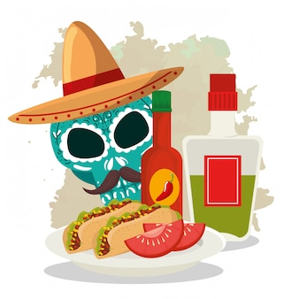 Skull with hat and tacos to day of the dead celebration