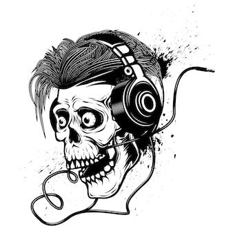 Skull with headphones on grunge background.  element for poster, emblem, t shirt.  illustration
