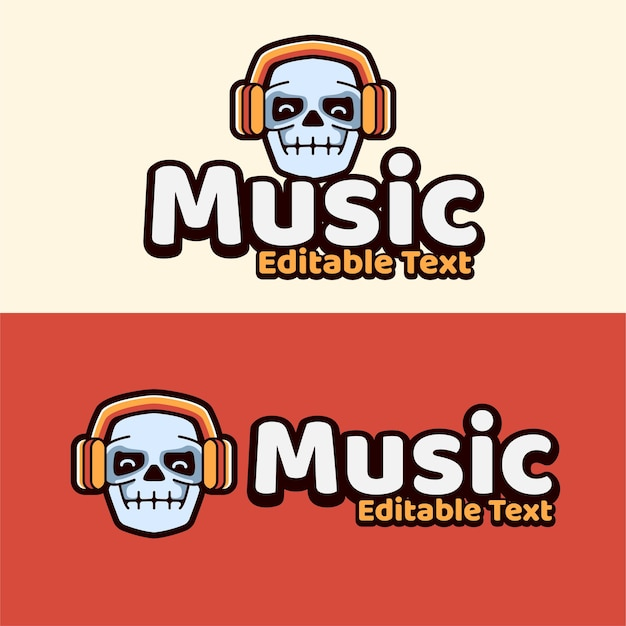 Skull with headset earphone for music or gaming mascots
