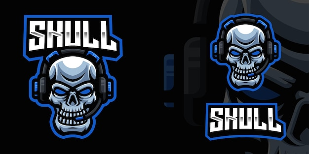 Skull with headset gaming mascot logo template for esports streamer facebook youtube