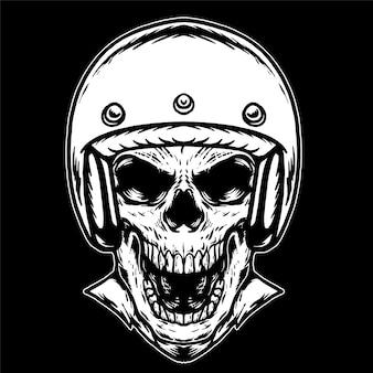 ヘルメットの黒と白のイラストと頭蓋骨