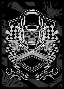 Skull with helmet.vector hand drawing.