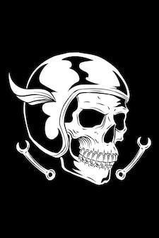Skull with helmet and workshop key