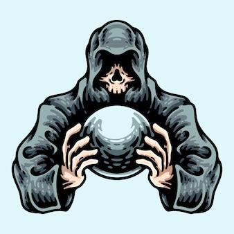 水晶玉を保持するフード付きの頭蓋骨