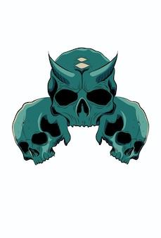 角のベクトル図と頭蓋骨
