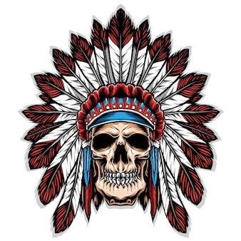 Skull with indian headdress illustration