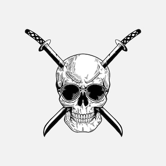 Skull with katana sword illustration