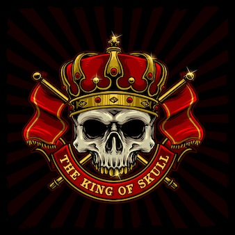Skull with king crown and kingdom flag logo