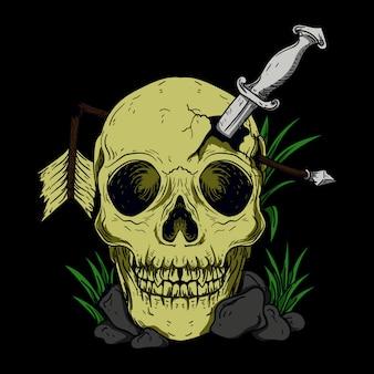 칼과 화살을 가진 두개골
