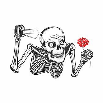 ナイフと花のイラストの頭蓋骨