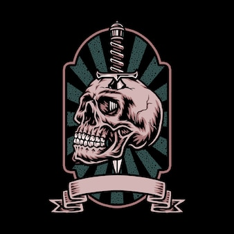 Skull with knife label
