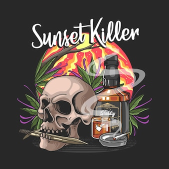 Skull with knife and wishkey in sunset illustration