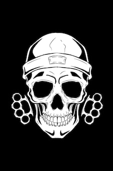 Skull with knuckle and beanie vector illustration