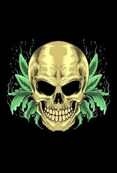 Skull with leaf vector illustration