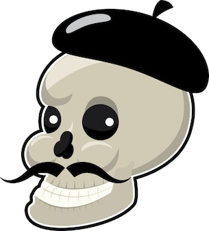 Skull with long mustache