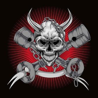 마스코트 로고 렌치가 있는 해골