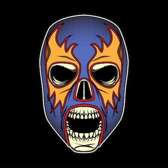 Череп с мексиканской лучадорской маской