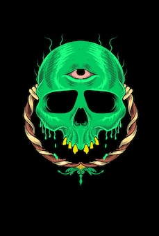 Skull with monster green vector illustration