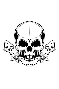 Skull with mushroom and flower vector illustration