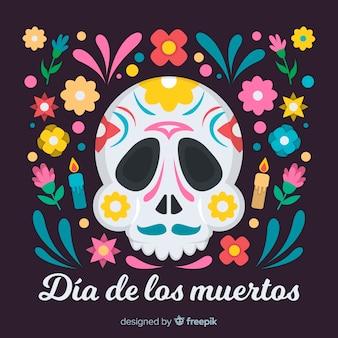 Skull with mustache día de muertos background